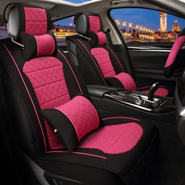 Fresh Contrast Color Girly Design Durable PET Material Universal Five Car Seat Cover