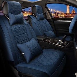 Deep Blue Solid Textured High-Grade PET Material Universal Five Car Seat Cover