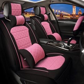 Fresh Bright Contrast Color Design Durable PET Material Universal Five Car Seat Cover