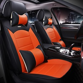 Luxurious Textured Design Contrast Color PU Leatherette Material Universal Car Seat Cover