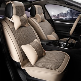 Luxury Flax Leatherette Material Mixing Good Permeability Universal Five Car Seat Cover
