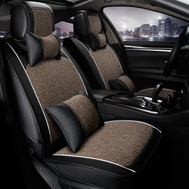 New High-Grade Flax Leatherette Material Mixing Good Permeability Universal Five Car Seat Cover