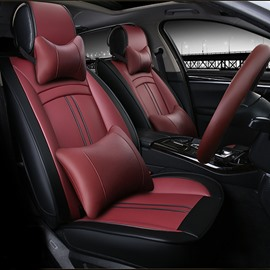 Luxury Charming Red Style PU Leatherette Material Universal Five Car Seat Cover