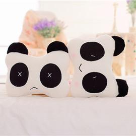 Interesting 1-Pair Smiling Face Panda Design Soft Velvet Creative Car Headrest Pillow
