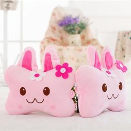 Fashion 1-Pair Lovely MOMO Rabbit Design Soft Velvet Creative Car Headrest Pillow