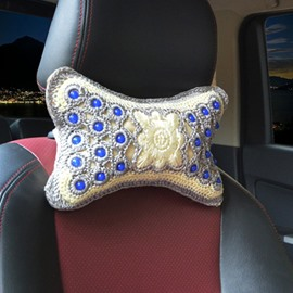 Luxury Traditional Handmade Craftsmanship Embroidery Craft 1-Pair Synthetic Fiber Material Car Headrest Pillow