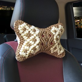 High-Grade Pure Hand Weaving Craft Synthetic Fiber Material Good Breathable Car Headrest Pillow