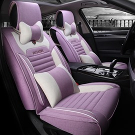 High-Grade Good Breathable Flax Linen Material Fashion Universal Five Car Seat Cover