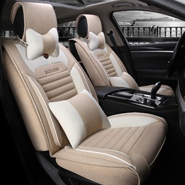 New High-Grade Good Breathable Flax Linen Material Universal Five Car Seat Cover