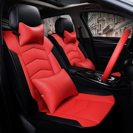 Attractive Textured Red Durable PVC Material Sport Style Universal Five Car Seat Cover