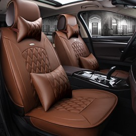 Popular Business Coffee Color Luxury Grid Style Design Durable PVC Material Universal Five Car Seat Cover
