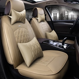 Easy Matched Beige Color Luxury Grid Style Design Durable PVC Material Universal Five Car Seat Cover