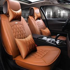 Fresh Orange Color Luxury Grid Style Design Durable PVC Material Fashion Universal Five Car Seat Cover