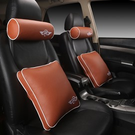 Cozy Rubbing Solid Genuine Leather Luxurious Car Pillow
