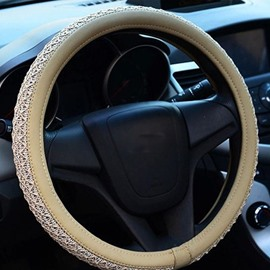 High Quality Thick Net Pattern Solid Color Steering Wheel Cover