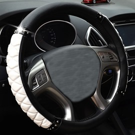 Classical Style Bright Thick Tangerine White and Black Car Steering Wheel Cover