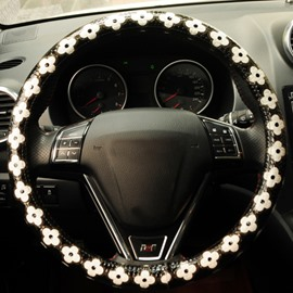 Fresh Cool White Flowers Pattern Black Steering Wheel Cover