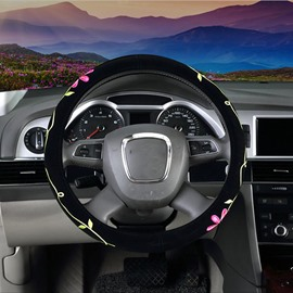 Traditional Chinese Embroidery Twin Flowers Steering Wheel Cover