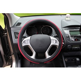 Combined With Ice Silk And Leather Materials Massiness Steering Wheel Covers Suitable for Most Round Steering Wheels