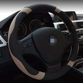 Leather Material And Most Popular Design Style Steering Wheel Cover