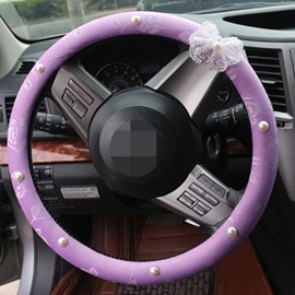 Farmhouse Style And Classic Puprle Color Steering Wheel Cover