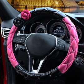 Classic And Beautiful Black Rose Mixing Steering Wheel Cover