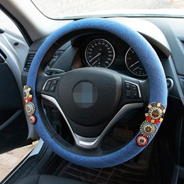 Bohemian Style With Beautiful Flower Pattern Steering Wheel Cover