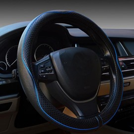 Classic Black With Blue Sport Style Medium Steering Wheel Cover