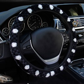 Fashional Spotted Floral Style Plush Material Universal Car Steering Wheel Cover