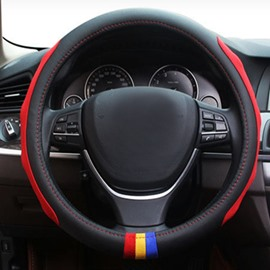 Three Ribbons Embellishment And Side Ribbon Design Leather Sports Car Steering Wheel Cover
