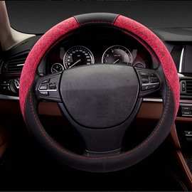 Strong Hit Contrast Color Sport Style Design Breathable Leather Car Steering Wheel Cover