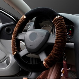 New Contrast Color Special Fold Plush Material Warm Comfortable Car Steering Wheel Cover