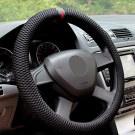Excellent Solid Grid With Three Ribbons Design Air Mesh Car Steering Wheel Cover