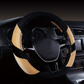 Fashion Contrast Color Short Plush Material Medium Car Steering Wheel Cover
