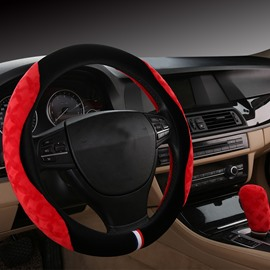 New Comfortable Velvet Material Contrast Color Medium Car Steering Wheel Cover