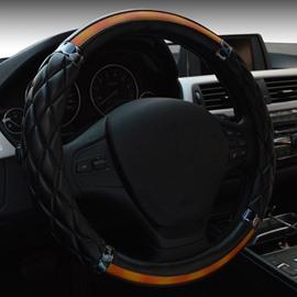 New Fashion Contrast-Color Durable Leather Medium Car Steering Wheel Cover