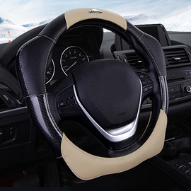 New 3D Design Easy Installation And Stretch-Resistant Tough Leather Durable Medium Car Steering Wheel Cover