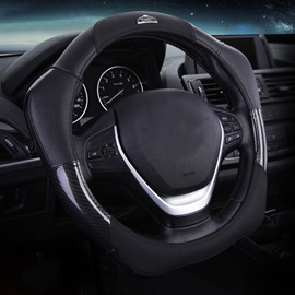 New Fashion 3D Effect Real Leather Material Sport Style Medium Car Steering Wheel Cover
