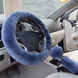 Short Plush Material Gray Color Style 3-Pieces Medium Car Steering Wheel Cover Sets