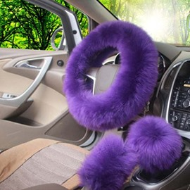 High-Grade Warm Long Plush Material Charming 3-Pieces Medium Car Steering Wheel Cover Sets Suitable for Most Round Steering Wheels