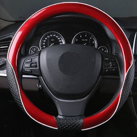 Fashion Red Black Contrast Color Design Durable PU Material Medium Car Steering Wheel Cover