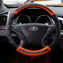 Fashion Contrast Color Style Durable PU Material Medium Car Steering Wheel Cover