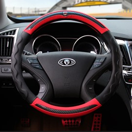 Luxurious Textured Contrast Color Easy Installation Durable PU Material Medium Car Steering Wheel Cover