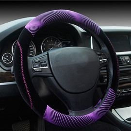 Fashion Cool Purple 3D Effect Design Mixing Material Medium Car Steering Wheel Cover