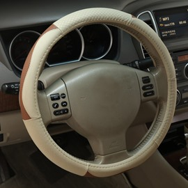 New Classic Business Beige Style Durable PU Material Medium Car Steering Wheel Cover
