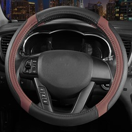 Classic Black Coffee Contrast Colors Matching Pattern Smooth Wearable Medium Steering Wheel Cover
