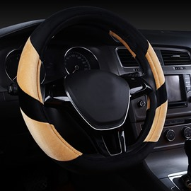 Super Popular Contrast Color Design Short Plush Material Comfortable Medium Car Steering Wheel Cover