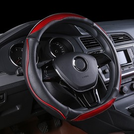Enhanced Grip Business Style Dual Color Streamline Steering Wheel Cover Suitable for Most Round Steering Wheels