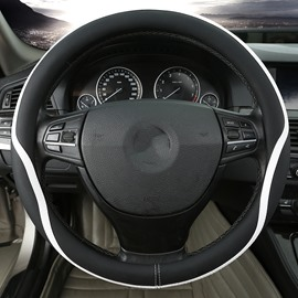 Streamlined Sports Style Contrasting Colors Universal Fit Steering Wheel Cover
