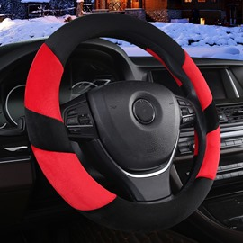 Concise Designed Dual Colored Stripe Soft Short Plush Car Steering Wheel Cover